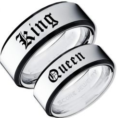 COI Titanium Black Silver King Queen Beveled Edges Ring-JT5121