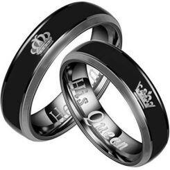 **COI Titanium King Queen Crown Beveled Edges Ring-JT5131