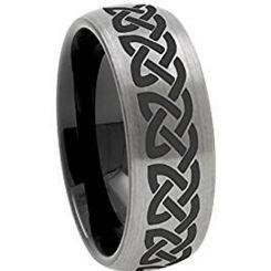 COI Titanium Black Silver Dome Court Celtic Ring-JT5137