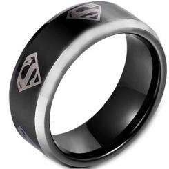 *COI Titanium Black Silver Superman Beveled Edges Ring-JT5138