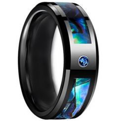 COI Black Titanium Abalone Shell Ring With Cubic Zirconia-JT5141