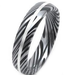 COI Titanium Black Silver Damascus Dome Court Ring-JT5150