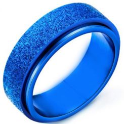 COI Blue Titanium Sandblasted Step Edges Ring-5342