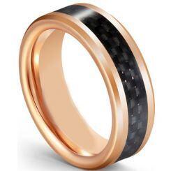 COI Rose Titanium Beveled Edges Ring With Carbon Fiber-5595