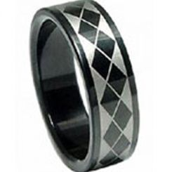 COI Black Titanium Checkered Flag Pipe Cut Flat Ring - JT680