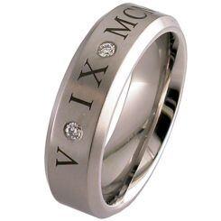 COI Titanium Genuine Diamond Custom Roman Numerals Ring-JT953