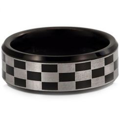 COI Black Titanium Checkered Flag Beveled Edges Ring-JT955