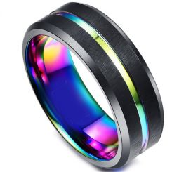 COI Titanium Rainbow Pride Center Groove Ring-1414