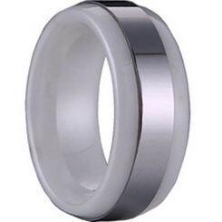 COI Titanium Ring With Ceramic - 1142(Size US6.5/9.5)