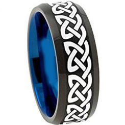 COI Titanium Black Blue Celtic Beveled Edges Ring - 1153