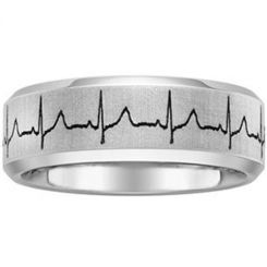 *COI Titanium Heartbeat Beveled Edges Ring - 1355