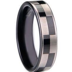 COI Black Titanium Checkered Flag Pipe Cut Flat Ring - JT1006A