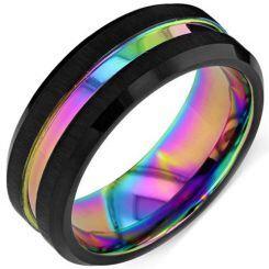 *COI Titanium Rainbow Pride Center Groove Ring-1414