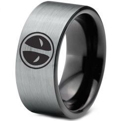 COI Titanium Black Silver DeadPool Pipe Cut Flat Ring - 1437