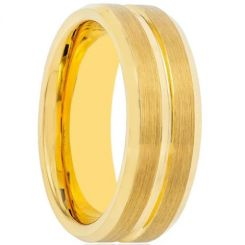 COI Gold Tone Titanium Center Groove Beveled Edges Ring-1507