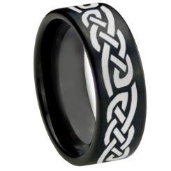 COI Black Titanium Celtic Pipe Cut Flat Ring - 1573