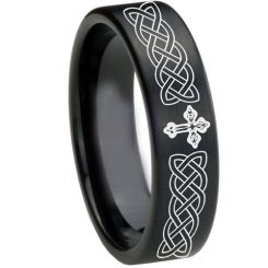 COI Black Titanium Cross Celtic Pipe Cut Flat Ring - 1661