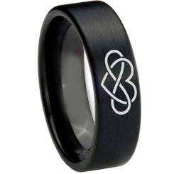 COI Black Titanium Infinity Heart Pipe Cut Flat Ring - 1821