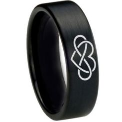 COI Black Titanium Infinity Heart Pipe Cut Flat Ring - 1821