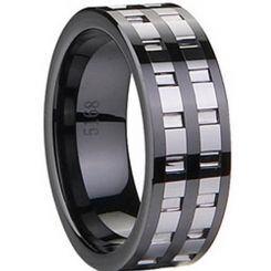 COI Black Titanium Ring With Ceramic - 1832(Size US14)