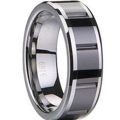 COI Black Titanium Ring With Ceramic-1833(Size:US11)