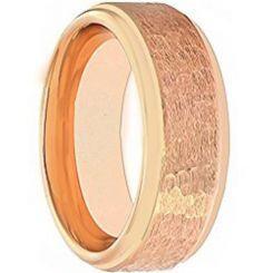 COI Rose Titanium Hammered Step Edges Ring - JT5097