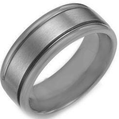 COI Platinum White Titanium Double Grooves Ring - JT017