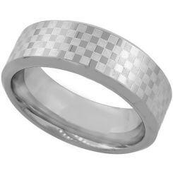 COI Titanium Checkered Flag Pipe Cut Flat Ring-1985