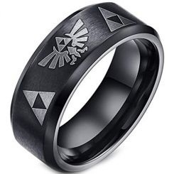 *COI Black Titanium Legend of Zelda Beveled Edges Ring-2061