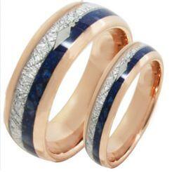 COI Rose Titanium Meteorite & Lapis Lazuli Ring-2077
