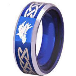 COI Titanium Blue Silver Celtic Wolf Beveled Edges Ring - 2089