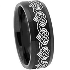 *COI Black Titanium Heart Beveled Edges Ring - 2108