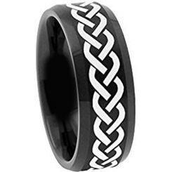 **COI Black Titanium Celtic Beveled Edges Ring - 2116AA