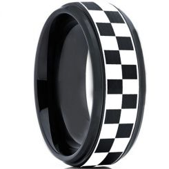 COI Titanium Black Silver Checkered Flag Ring-2136