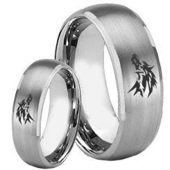 **COI Titanium Wolf Dome Court Beveled Edges Ring - 2249