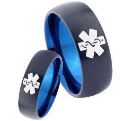 COI Titanium Black Blue Medic Alert Dome Court Ring - 2272