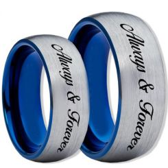 COI Titanium Blue Silver Always & Forever Dome Ring-2345