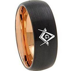 COI Titanium Black Rose Masonic Dome Court Ring - 2435