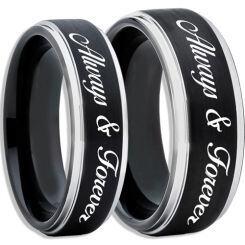 COI Titanium Black Silver Always & Forever Beveled Edges Ring-2450