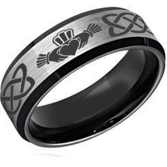 *COI Titanium Black Silver Mo Anam Cara Celtic Ring-2589