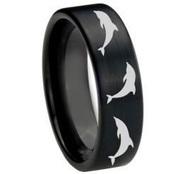 COI Black Titanium Dolphin Pipe Cut Flat Ring - 2754