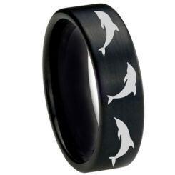 COI Black Titanium Dolphin Pipe Cut Flat Ring - 2754