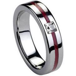 COI Titanium Ring With Ceramic & CZ-2771(Size:US5.5)