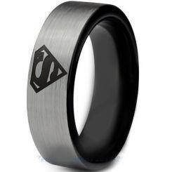 *COI Titanium Black Silver Superman Pipe Cut Flat Ring - 2776