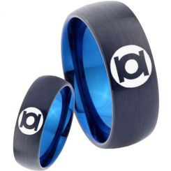 COI Titanium Black Blue Green Lantern Dome Court Ring - 2807