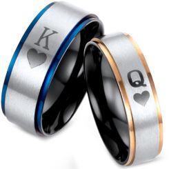 *COI Titanium Black Rose/Blue King Queen Step Edges Ring-2875