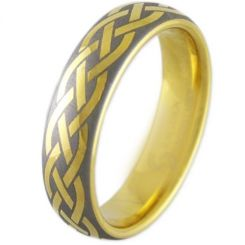 COI Gold Tone Titanium Celtic Dome Court Ring - 2908