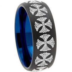 COI Titanium Black Blue Cross Dome Court Ring - 3082