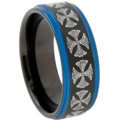 COI Titanium Black Blue Cross Step Edges Ring-3106