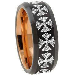 COI Titanium Black Rose Cross Beveled Edges Ring - 3147